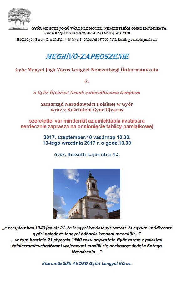 16be859419 Emléktábla avatás - Győr Megyei Jogú Város Honlapja